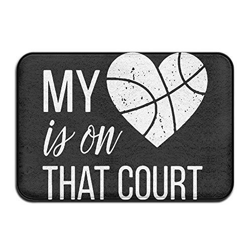 quanzhouxuhuixiefu My Heart is On That Court Basketball Non-Slip Outside/Inside Door Mat Rug for Health and Wellness Toilet Bathroom Doormat 23.6