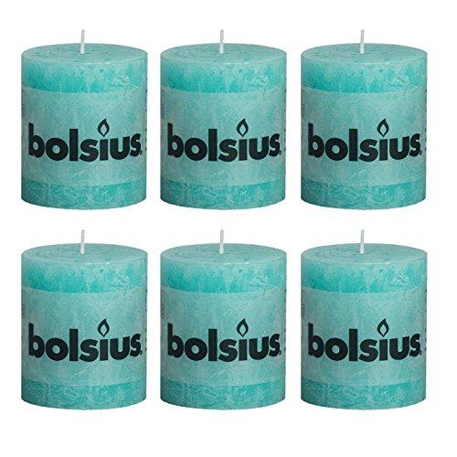 6x Rustic Stumpenkerze 80/68 mm von Bolsius / 33 Farben zur Auswahl (Süßes Türkis (69))