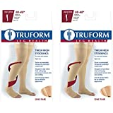 Truform Compression 30-40 Mmhg Thigh High Open Toe Dot Top Stockings Black, Small, 2 Count