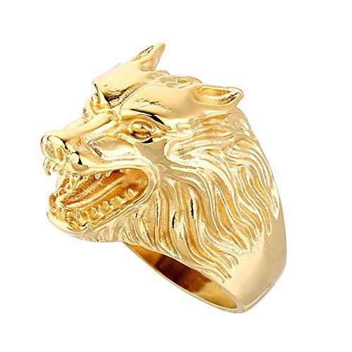 Blisfille Gold Ringe Herren Bandring Edelstahl Wolf Herren Ring Schwarz Gr. 60 (19.1) -