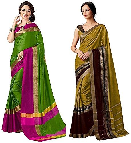 Indira Designer Women's Kanjivaram Emboss Tussar Saree With Blouse