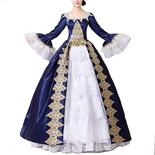 Nuoqi damen ®Damen Satin Gothic Victorian Prinzessin Kleid Halloween Fancy Dress Cosplay Kostüm Party Maxi Kleid (42, CC3032B-NI)