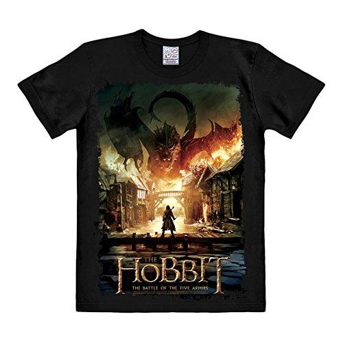 Lo Hobbit - T-shirt con motivo stampa de La Battaglia delle cinque Armate - Stampa Smaug - Cotone - Nero - M