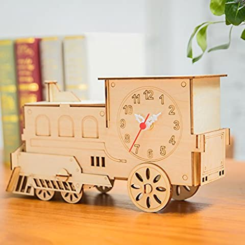 3D Puzzles Clocks Train Toy Wooden Model Kit Creative Home Decoration w/ 2yrs Clock Movement Warranty