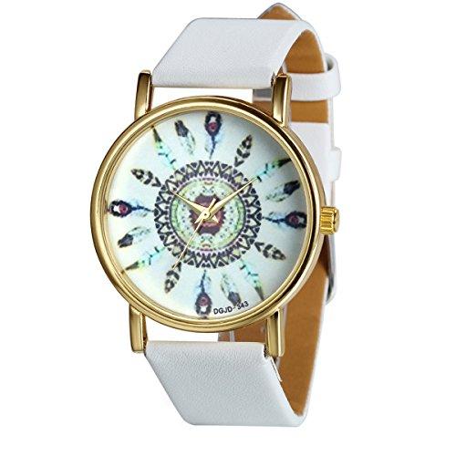 JewelryWe Damen Armbanduhr, Charm Casual Analog Quarz Leder Armband Uhr mit Einzigartig Indischem Stammem Zifferblatt, Weiss