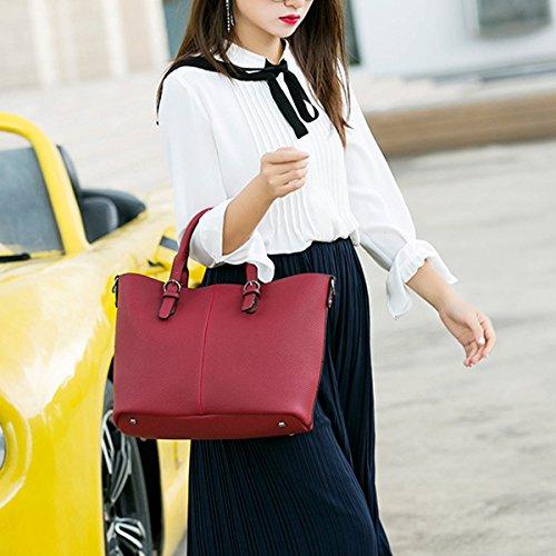 Donna Borse Di Moda Pu Stile Europeo Mosaico Texture Borsa A Tracolla Portafogli Grande Capacità Borsa Grey