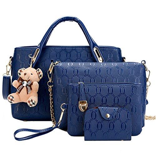 Fivelovetwo donne 4pcs borse a mano spalla tracolla zainetto tote borsa in pelle pu grande tote + borsetta + borsa a tracolla + porta carte blu