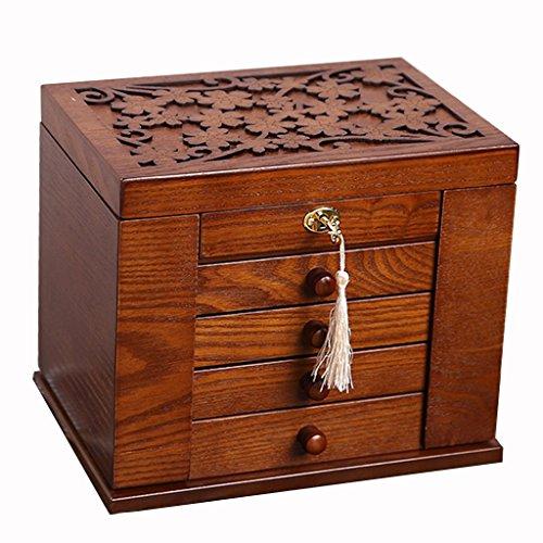 Étui cosmétique HWF Boîtes à Bijoux à Verrouillage de Style européen Type de tiroir à Grande capacité Boîte de Rangement à Bijoux Coffre à Bois avec Miroir Organisateur (Couleur : B)