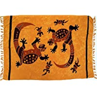 Guru-Boutique, Sarong, Tapisserie, Jupe Portefeuille, Robe Paréo 16, Orange, Viscose, Size:Taille Unique, 160x100 cm, Sarongs, Serviettes de Plage