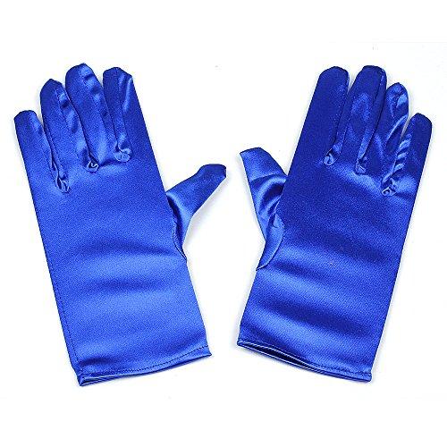 RUNHENG Damen handgelenk länge satin handschuhen, One size, blau