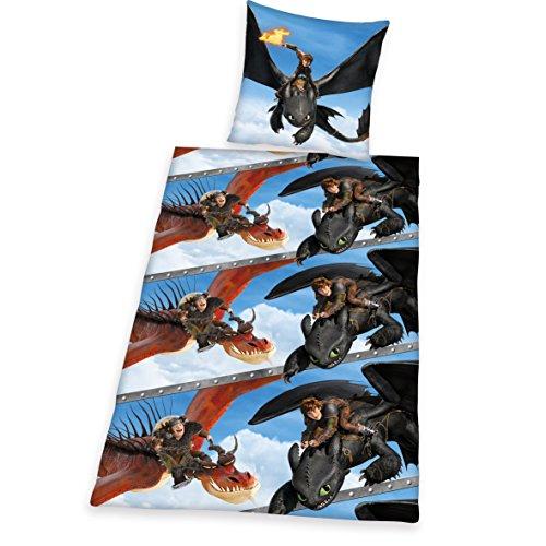 Herding 4432007050412 Bettwäsche Dragons, Kopfkissenbezug, 80 x 80 cm und Bettbezug, 135 x 200 cm, renforce