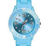 Taffstyle Farbige Sportuhr Armbanduhr Silikon Sport Watch Damen Herren Kinder Analog Quarz Uhr 34mm Hellblau
