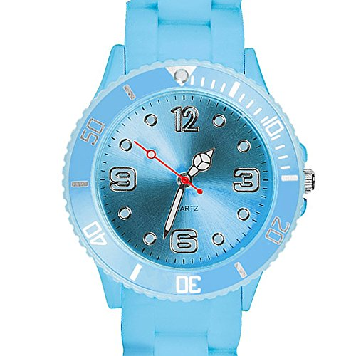 Taffstyle Farbige Sportuhr Armbanduhr Silikon Sport Watch Damen Herren Kinder Analog Quarz Uhr 39mm Hellblau (Damen Outdoor-wasserdichte Armbanduhr)