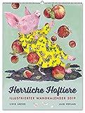 Herrliche Hoftiere 2019: Illustrierter Wandkalender