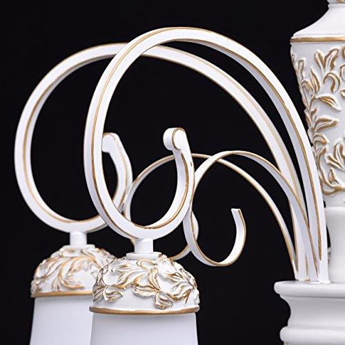 Kronleuchter weiß und gold Metall klassisch antik mattweiße Glasschirme - 9