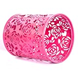 #10: CraftDev Flower design Round Pencil Holder Desk Pen Containers Organizer Makeup brush holder Metal Pen Pot ( PINK )