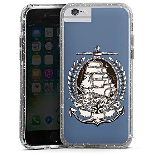Apple iPhone 6 Plus Bumper Hülle Bumper Case Glitzer Hülle Schiff Mer Meer Bumper Case Glitzer silber
