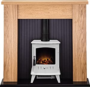 Adam New England Stove Suite in Oak with Aviemore Electric Stove in Pure White, 48 Inch