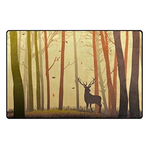 alaza Deer Silhouette Herbst-Holz-Bereichs-Wolldecke 3'3