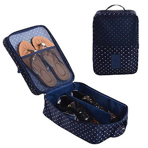 Gossipboy Portable scarpe borsa da viaggio impermeabile a shoe Tote bag shoe organizer cassa della tasca del supporto 3paia di scarpe Dark Blue