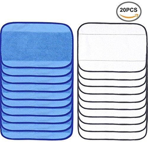 FollowHeart 20 Pack Microfaser Reinigung Mopping Tücher 10 Wet + 10 Trocken für iRobot Braava 380 380t 320 Mint 4200 4205 5200 5200C