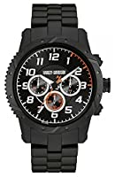 Harley Davidson Mens bracelet noir boîtier noir chronographe 78B138 de Harley Davidson