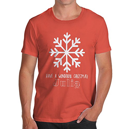 TWISTED ENVY Christmas Penguin Personalised Men's Novelty 100% Cotton T-Shirt, Crew Neck, Comfortable and Soft Classic Tee with Unique Design