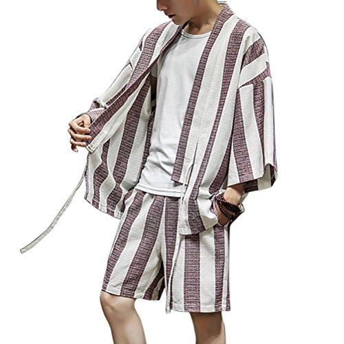Zhhlaixing Mode Herren Sommer Baumwolle Leinen Japan Kimono Open Front Drawstring Hippie Kleidung Jugend Casual Loose Dünn 2 Piece Set (Mens Leinen Drawstring)