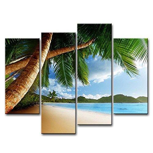 4Stück Wand Kunst Bild Strand Karibik mit Palme und mountain Bilder Prints auf Leinwand Seascape der Decor Öl für Home Moderne Dekoration
