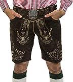 Herren Lederhose Wiesnjäger mit Trachtengürtel - Herren Trachtenlederhose Oktoberfest mit Gürtel - Trachtenhose kurz Gürtel (48, Schwarzbraun)