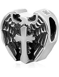 77aa94b18ddd Sandcastle Charm Alas de ángel Cruz 925 Plata de Ley Abalorios Religión Amor  Corazón Europeo Abalorios