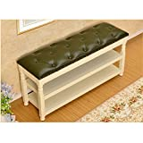 CXZS-shoe rack Ändern Sie Schuhe Hocker Massivholz Schuhe Hocker Wear Shoes Hocker Storage Storage Hocker Schuhregal Schuhregal Modern Minimalist White Sofa Hocker Flip Cover (Farbe : Green)