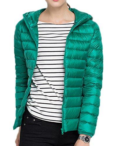 Smile YKK Kälteschutz 90% Entendaunen Leicht Daunenjacken Sweatjacke Daunen Outdoor Jacke Steppjacke Mit Kapuzen Reißvrschluss Grün