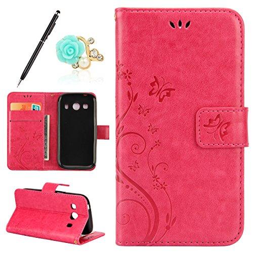 Uposao Kompatibel mit Samsung Galaxy Ace 4 G357 Leder Tasche Leder Handyhülle Case Schmetterling Muster Lederhülle Flip Schutzhülle Handytasche im Bookstyle Ständer Kartenfach,Rose Rot