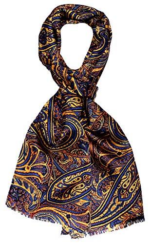 LORENZO CANA High End Luxus Schal 100% Seide in harmonischen Farben bedruckt doppellagig Seidenschal Seidentuch Tuch Dandy Style 30 x 160 cm (Italienische Designer Seidenkrawatte)