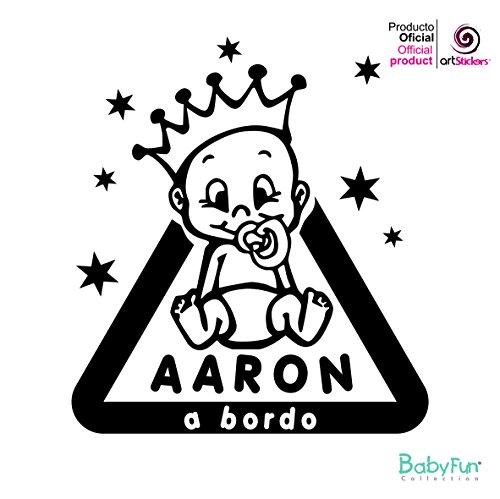 1 Pegatina Bebe, Aaron a Bordo de 14,3 cm x 16 cm vinilo adhesivo BABYFUN® + 1 Pegatina de Regalo Spilarts®