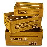 3er Set Deko-Holzkisten mit Aufdruck in verschiedenen Farben (Gelb, Rot, Petrol und Schwarz) Vintage Weinkisten Landhaus-Stil Aufbewahrungskiste Möbelkiste Holzboxen Obstkiste Dekoration (Gelb)