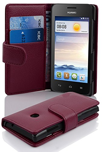 Cadorabo Book-Style Case for Huawei Ascend Y330 with Card Compartment Made  of Textured Faux Leather Bordeaux Purple