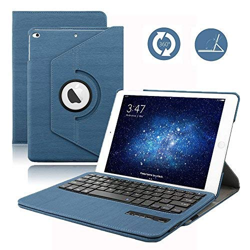 iPad 9.7 2017/2018 Tastiera Custodia, Dingrich Bluetooth Wireless QWERTY Tastiera Custodia Cas + Proteggi schermo HD + penna stilografica