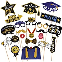 Amosfun Graduation Photo Props Glitter Graduation Phtoto Booth Props 2020 Graduation Party Decorations Pack of 21