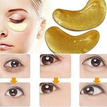 lnlyin 10pcs Hidratante Ojo parches hoja belleza oro crystal colágeno máscara de ojo
