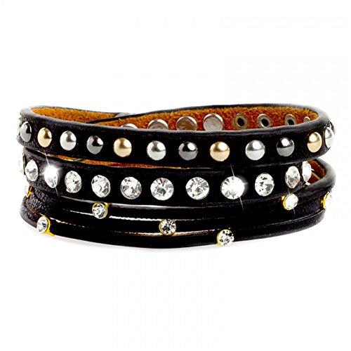 CASPAR Damen Leder Nietenarmband / Armband mit runden Nieten und Strasssteinen im Metallic Look - viele Farben - AZ326, Farbe:schwarz (Riemchen Schwarzer Leder-look)