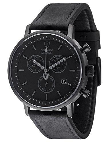 Milano Leder-armband (DETOMASO Herren-Armbanduhr Milano mit schwarzem Edelstahlgehäuse und schwarzem Zifferblatt. Elegante Quarz Herren-Uhr mit schwarzem Leder-Armband.)