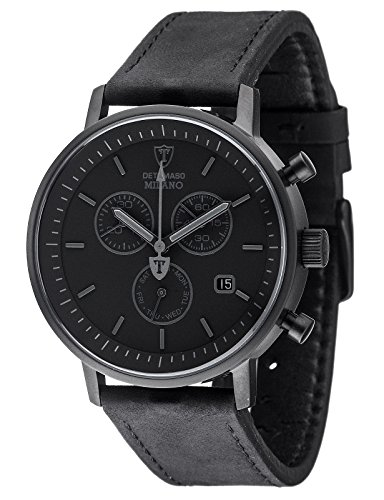 DETOMASO Milano Men's Quartz Watch with Black Dial Analogue Display and Black Leather Bracelet Dt1052-Q