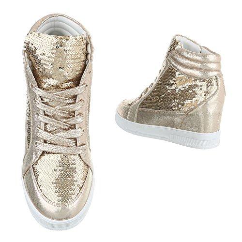 Damen Schuhe Stiefeletten Stiefel Keil Wedges Schnürer Boots Schwarz Gold