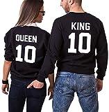JWBBU King Queen Pull Couple Hoodies Paire Set pour Femme et Homme Impression des King ET Queen 10 à Capuche Manches Longues Pullover 2 Pieces (King-M+Queen-L, Noir et Noir)