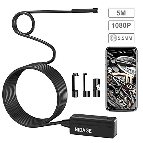 NIDAGE Kabelloses Inspektionskamera, Wasserfeste 2,0MP HD 5,5MM Endoskop mit 5M Halbsteifes Kabel & 6 LEDs Borescope Schlange Kamera für Android & iOS iPhone Smartphone