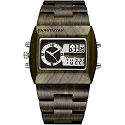 Jiangyuyan® Black Sandal Analog Digital Dual Display Dual Movements Men Dess Watch #391803
