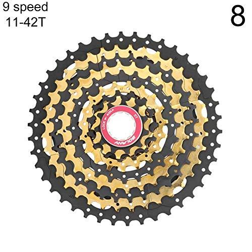 XQxiqi689sy Fahrrad-/Mountainbike-Kassetten, 8-/9-Gang-Kassetten, Freilaufrad, Schwungrad, Herren, einfarbig, 9-Speed 11-42T Black+Golden