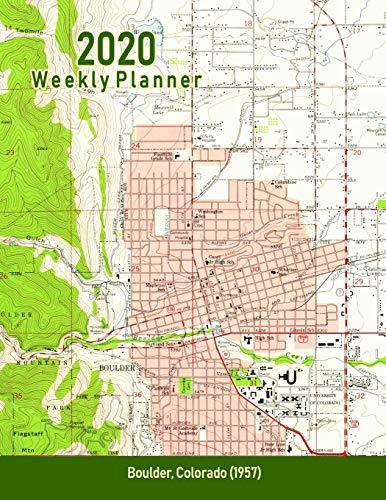 2020 Weekly Planner: Boulder, Colorado (1957): Vintage Topo Map Cover Boulder Handy